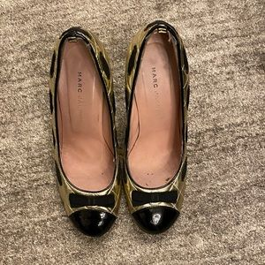 Marc Jacobs black and gold bow detail shoes